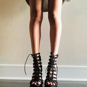 Lace up gladiator heels
